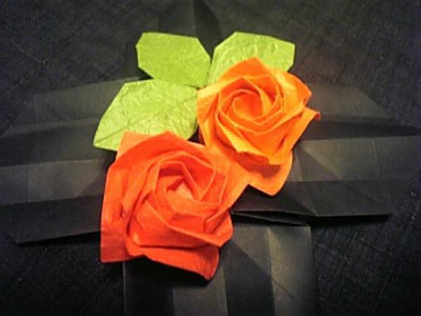バラの花×2、葉