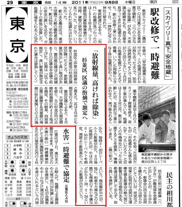 朝日新聞_一般質問記事(2011.09.08)